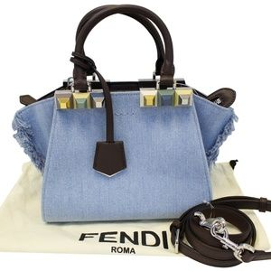 FENDI 3 Jour Mini Fringed Denim Studs Tote Bag f30bcc687f992